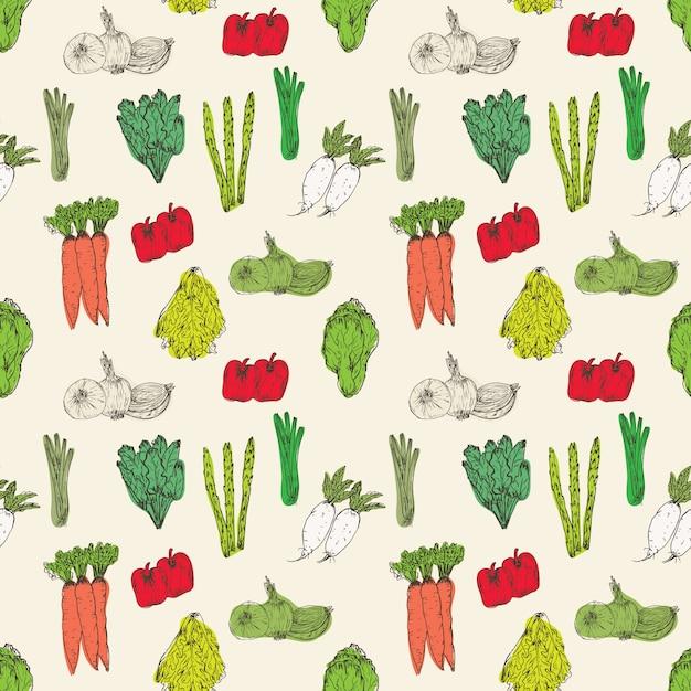 Modèle Sans Couture Avec Fond De Légumes Dessinés à La Main Vecteur Premium