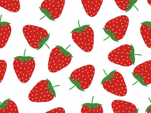 Modèle sans couture de fraises fraîches Vecteur Premium