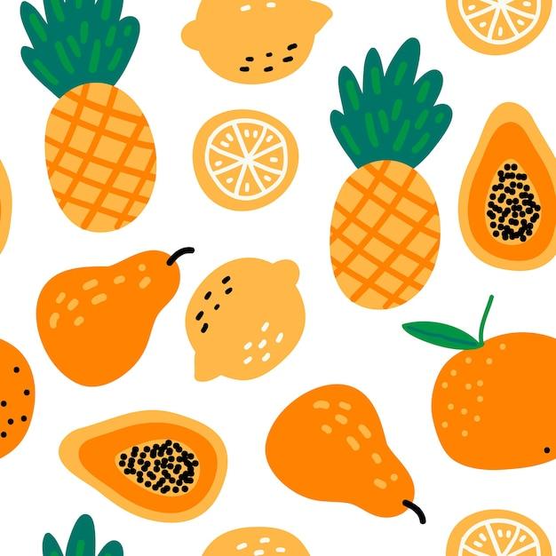 Modèle Sans Couture Avec Fruits Ananas, Citrons, Papaye, Poire, Orange Vecteur Premium