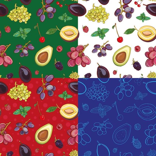 Modèle Sans Couture Avec Fruits Et Baies: Raisins, Prunes, Cerises, Avocat, Menthe, Framboise, Mûre. Quatre Variantes De Fond. Vecteur Premium