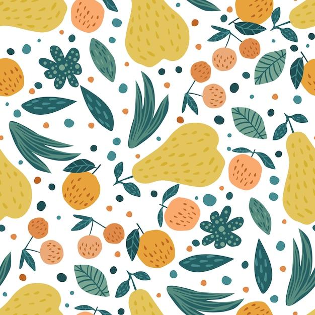 Modèle sans couture de fruits. cerises baies, pommes, poires et feuilles papier peint dessiné à la main. Vecteur Premium