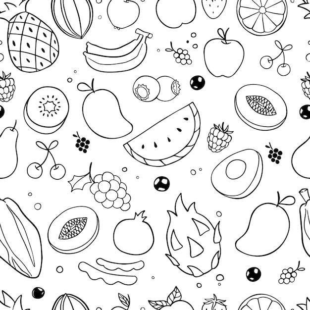 Modèle sans couture de fruits doodle Vecteur Premium