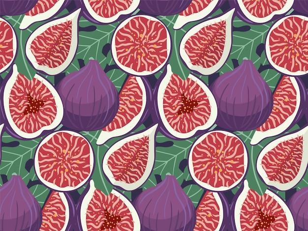 Modèle sans couture de fruits figues dessinées à la main. Vecteur Premium