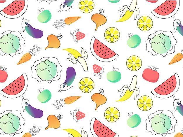 Modèle sans couture de fruits et légumes Vecteur Premium