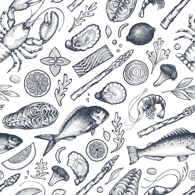 Modèle sans couture de fruits de mer et poissons. illustration vectorielle dessinés à la main. Vecteur Premium