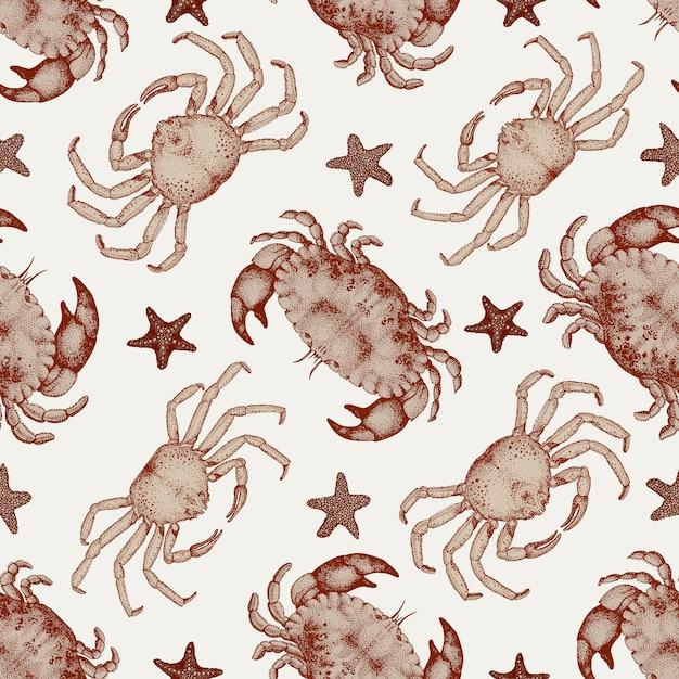 Modèle sans couture de fruits de mer de vecteur avec des crabes et des étoiles de mer. Vecteur Premium