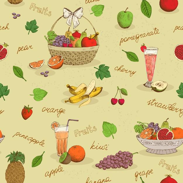Modèle sans couture de fruits avec des noms Vecteur gratuit