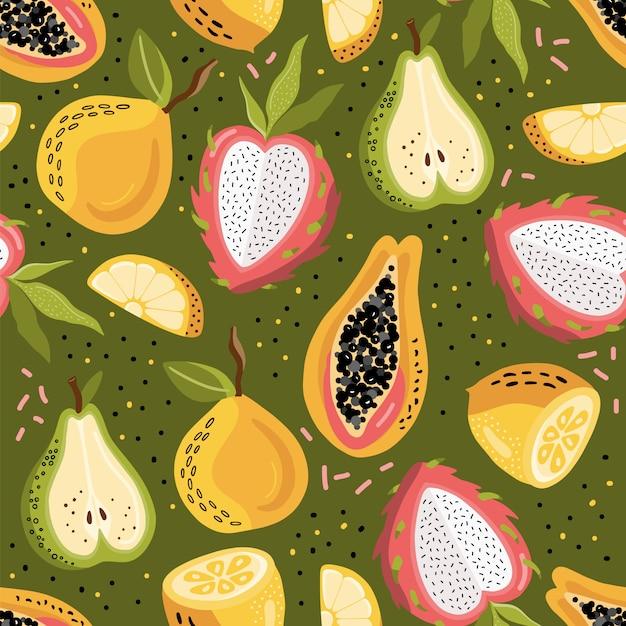Modèle Sans Couture Avec Des Fruits Tropicaux. Vecteur Premium