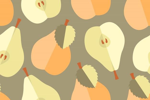 Modèle Sans Couture De Fruits Vecteur. Poires Entières, Naturelles, Jaunes, Pêche, Beiges Et Naturelles Avec Graines Vecteur Premium