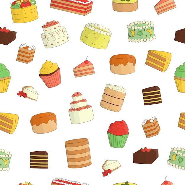 Modèle Sans Couture De Gâteaux Colorés. Texture De Répétition Colorée De Produits De Boulangerie Sucrés. Dessin Lumineux De Gâteaux D'anniversaire Vecteur Premium