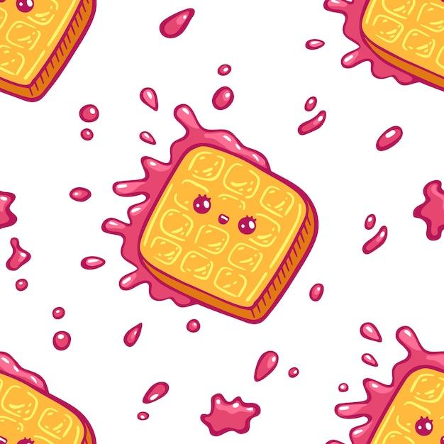 Modèle Sans Couture De Gaufres Colorées Kawaii. Style De Dessin Animé Doodle Sweety Caractère. Boutique De Bonbons Icône Visage émotionnel. Illustration Dessinée à La Main, Isolée Sur Fond Blanc Vecteur Premium