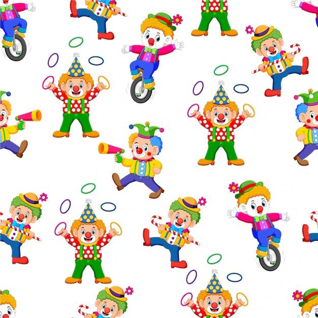Modèle sans couture avec des gens divertissants de clown Vecteur Premium