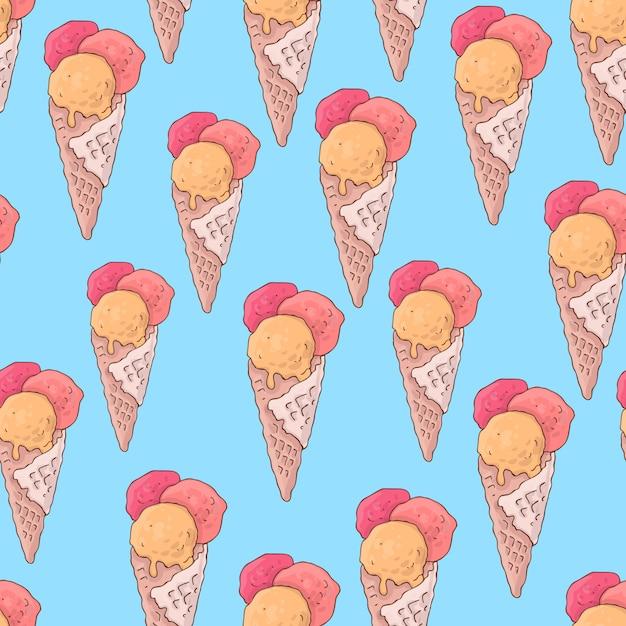 Modèle sans couture avec glace à la popsicle Vecteur Premium