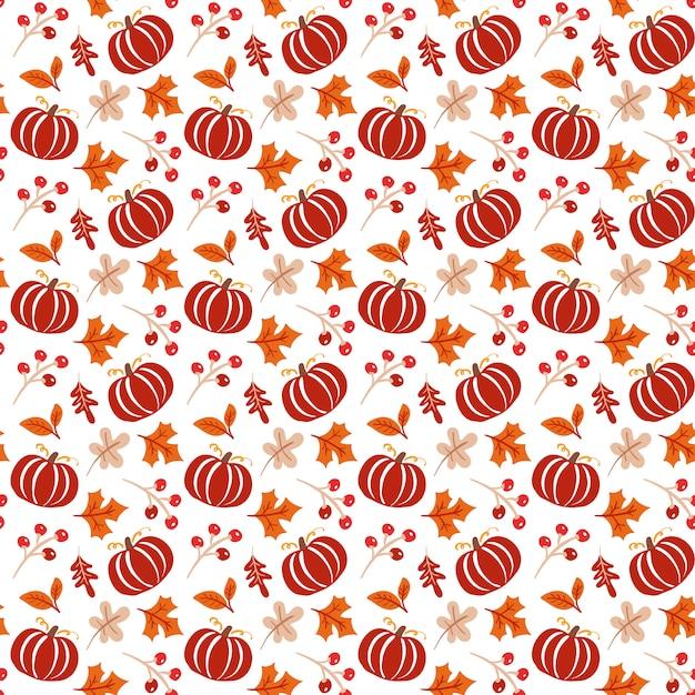 Modèle sans couture avec des glands, citrouille et chêne automne feuilles en orange et brun Vecteur Premium