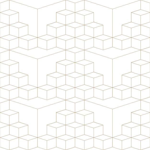 Modèle sans couture de grille 3d abstrait géométrique Vecteur Premium