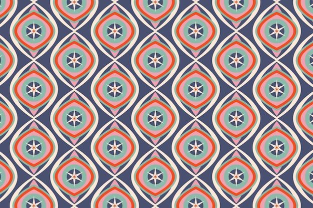 Modèle Sans Couture Groovy Géométrique Bleu Brillant Vecteur gratuit
