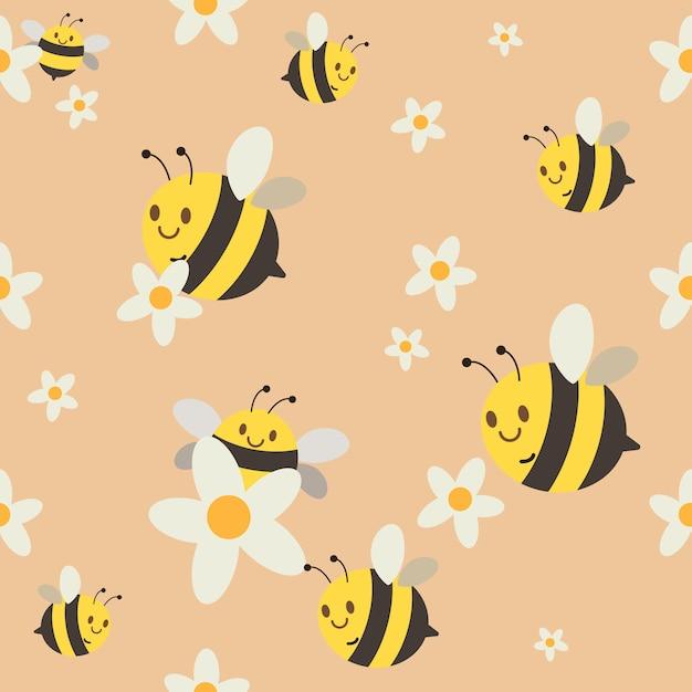 Un modèle sans couture de groupe d'abeille chatacter mignon vole sur orange Vecteur Premium