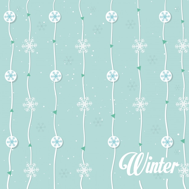 Modèle sans couture de guirlande de flocons de neige Vecteur gratuit