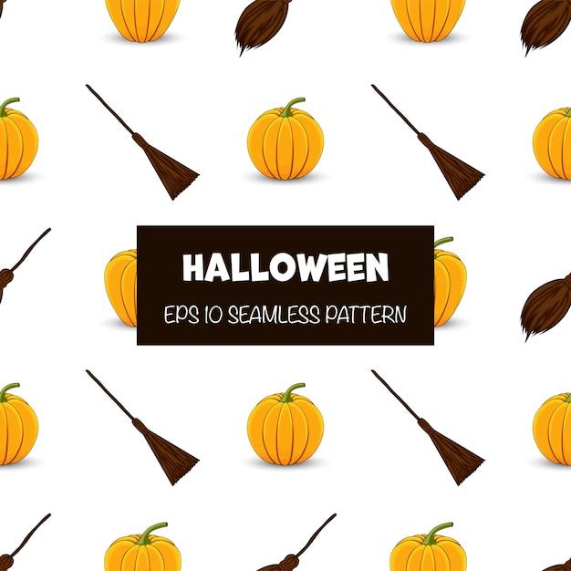 Modèle sans couture halloween avec citrouilles et balais. style de bande dessinée. Vecteur Premium