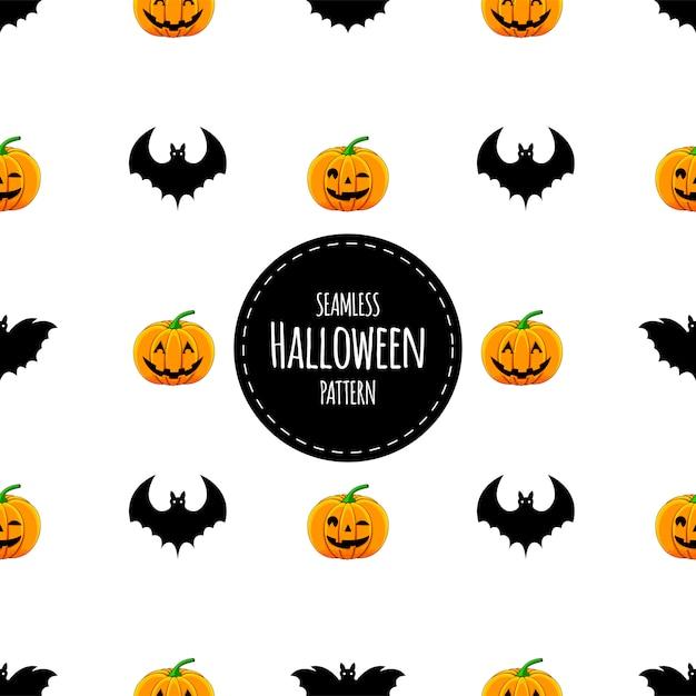 Modèle sans couture halloween avec des citrouilles et des chauves-souris. style de bande dessinée Vecteur Premium