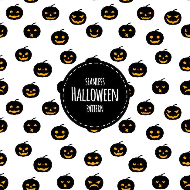 Modèle sans couture d'halloween avec des citrouilles. style de bande dessinée. Vecteur Premium