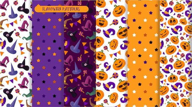 Modèle sans couture halloween, emoji de citrouilles, chapeau de sorcière, bonbons, personnages terrifiants Vecteur Premium