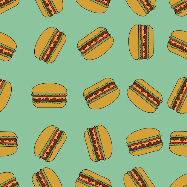 Modèle sans couture avec des hamburgers. Vecteur Premium