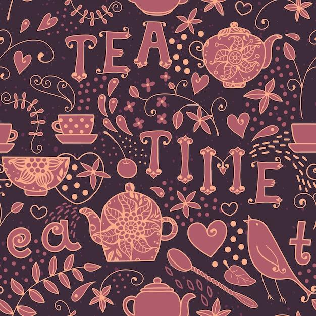 Modèle sans couture l'heure du thé Vecteur Premium