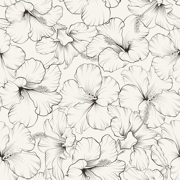 Modèle Sans Couture D'hibiscus En Fleurs Vecteur gratuit