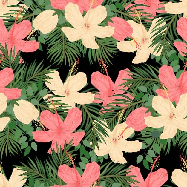 Modèle sans couture d'hibiscus et de paume tropical Vecteur Premium