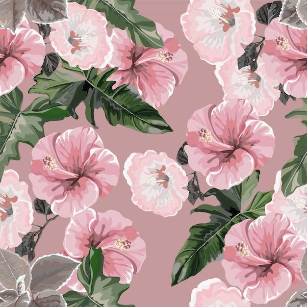 Modèle sans couture d'hibiscus Vecteur Premium