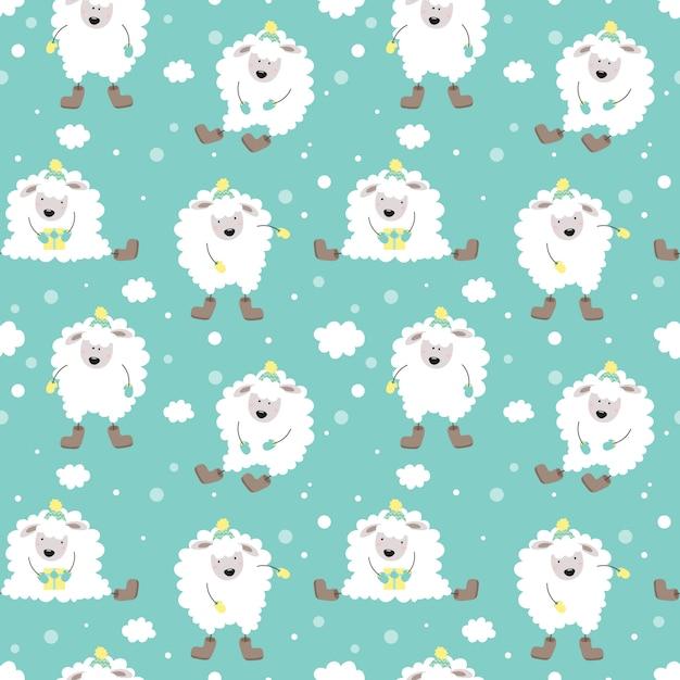 Modèle sans couture hiver mignon avec de l'agneau. Vecteur Premium