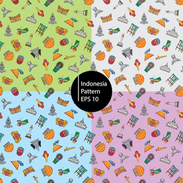 Modèle sans couture d'icône indonésie Vecteur Premium