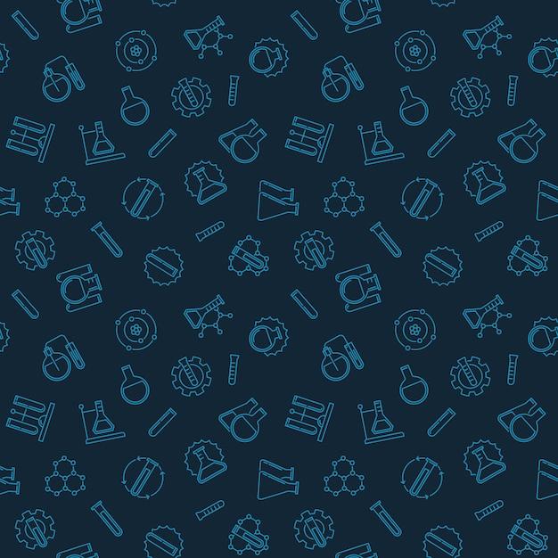 Modèle sans couture avec des icônes d'aperçu de la chimie Vecteur Premium