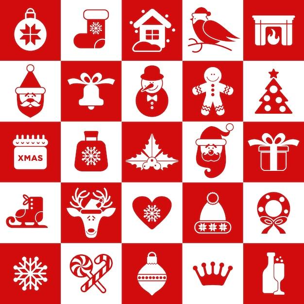 Modèle sans couture d'icônes de christmass Vecteur Premium