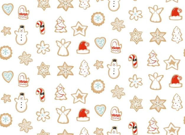 Modèle Sans Couture D'illustration De Dessin Animé Abstrait Temps Joyeux Noël Dessiné Main Vecteur Premium