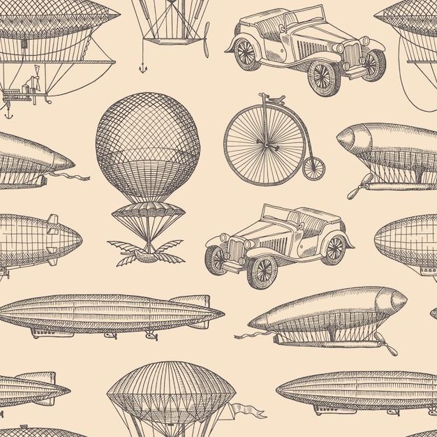 Modèle sans couture avec illustration de dirigeables, vélos et voitures steampunk dessinés à la main Vecteur Premium