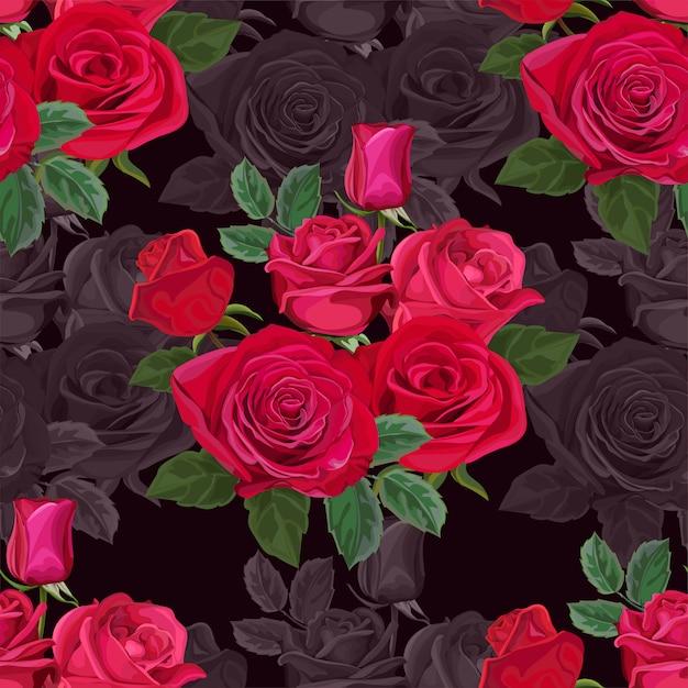Modèle sans couture avec illustration vectorielle fleur rose Vecteur Premium