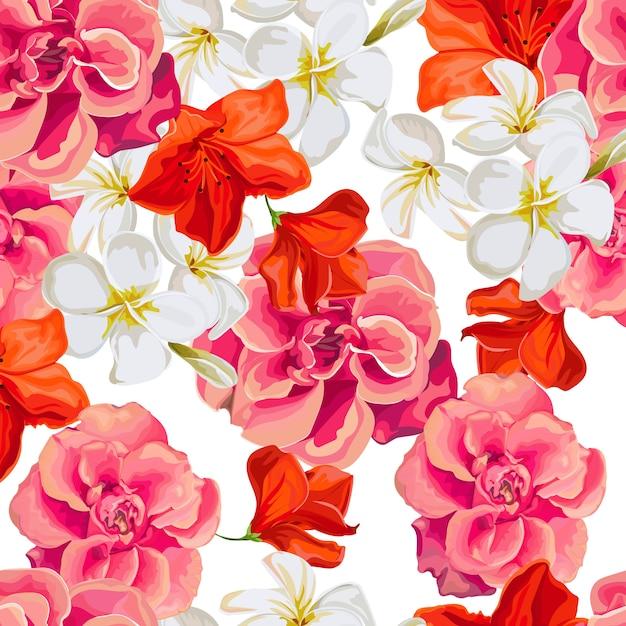 Modèle sans couture avec illustration vectorielle fleur tropicale Vecteur Premium