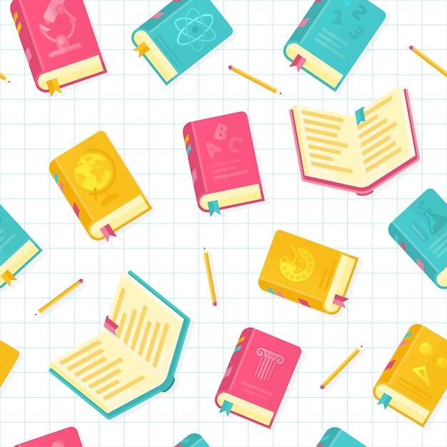 Modèle sans couture d'illustration vectorielle style plat livres scolaires Vecteur Premium