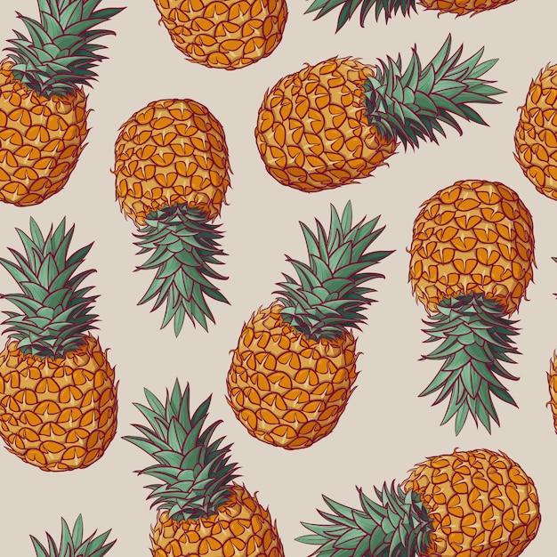 Modèle sans couture avec des illustrations vectorielles d'ananas. Vecteur Premium