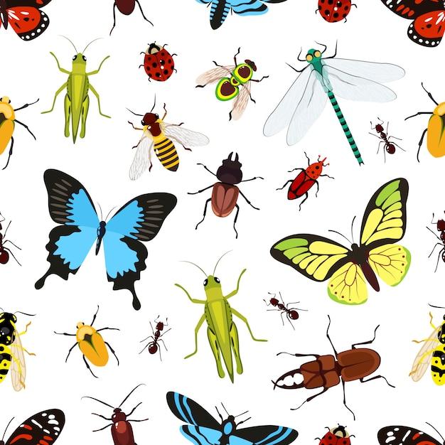Modèle Sans Couture D'insectes Vecteur Premium