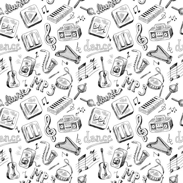 Modèle sans couture d'instruments de musique doodle dessin à la main Vecteur Premium