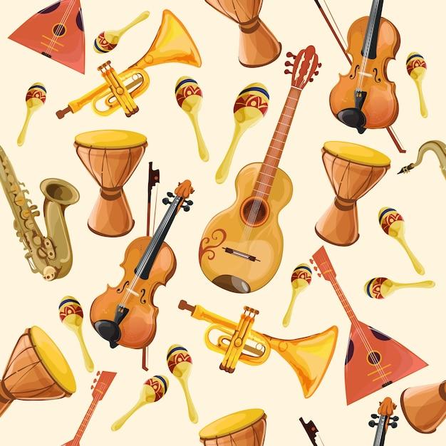 Modèle sans couture d'instruments de musique Vecteur Premium