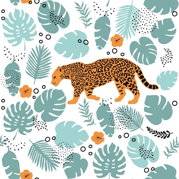 Modèle sans couture avec jaguar et éléments tropicaux Vecteur Premium