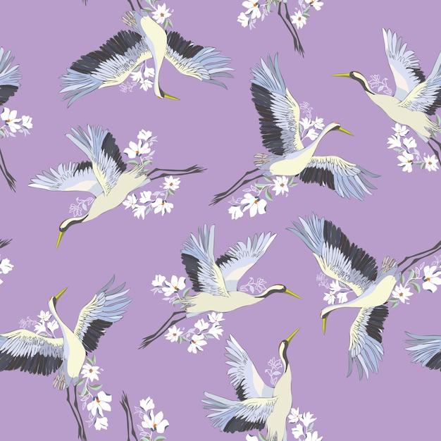 Modèle sans couture japonais d'oiseaux Vecteur Premium