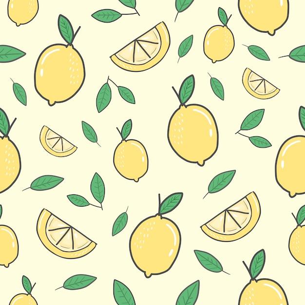 Modèle sans couture jaune citron Vecteur Premium