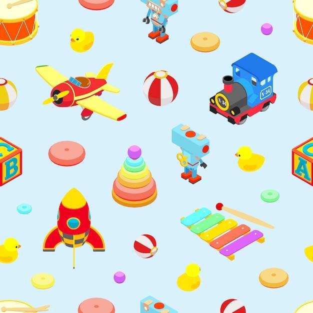 Modèle sans couture avec les jouets colorés rétro Vecteur Premium