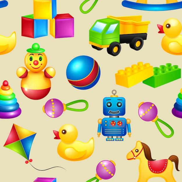 Modèle sans couture de jouets Vecteur gratuit