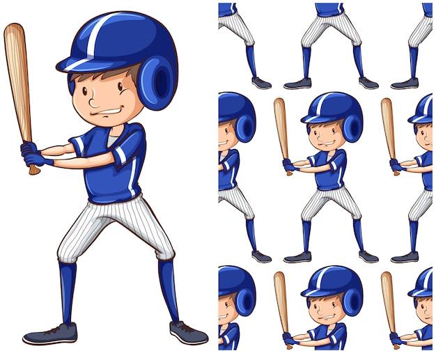 Modèle sans couture de joueur de baseball isolé sur blanc Vecteur gratuit